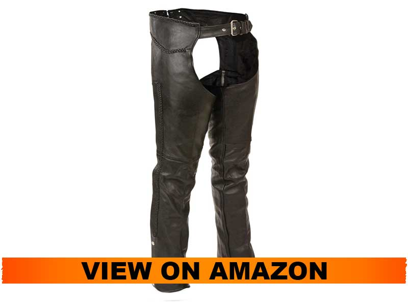 Milwaukee Leather Men's Braided Leather Motorcycle Chaps