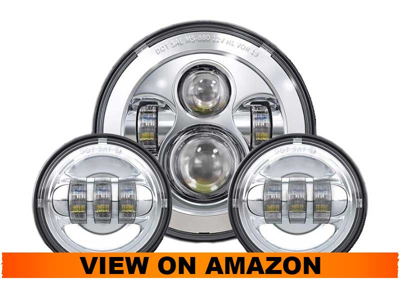 TRUCKMALL 7 inch LED Headlight and Fog Passing Lights for Harley Davidson Touring