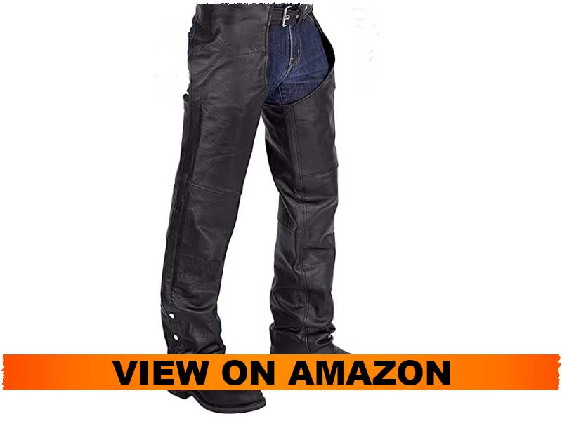 Viking Cycle Plain Motorcycle Leather Chaps For Men